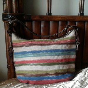 Fossil Colorful Cloth bag with Leather Trim